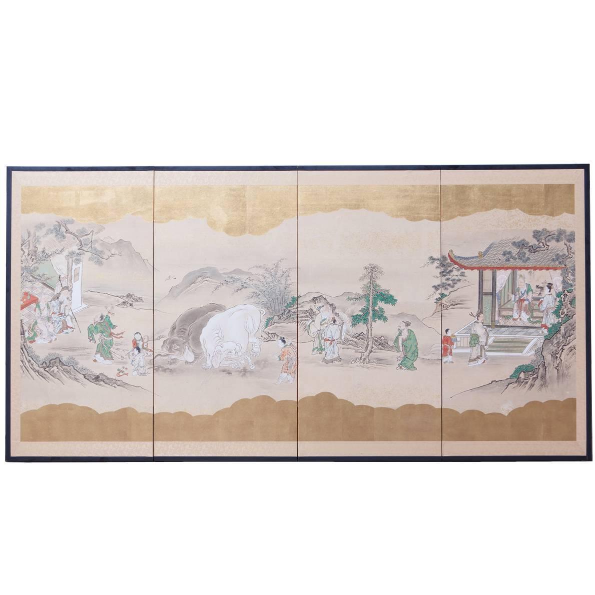 19th Century Japanese Four-Panel Kano School Edo Period Screen