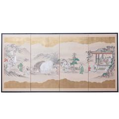 19th Century Japanese Four-Panel Kano School Edo Period Screen