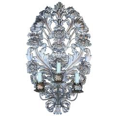 Very Large 19th-20th Century Italian Silvered Appliqué Sconce