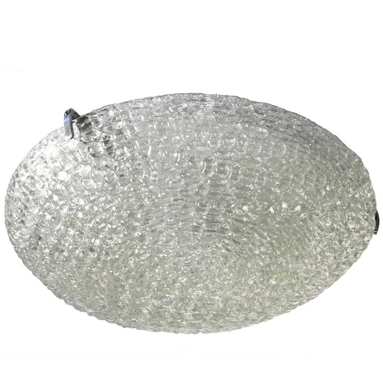 Large Textured Ice Glass Ceiling Light Flush Mount by Kaiser, Germany, 1960s