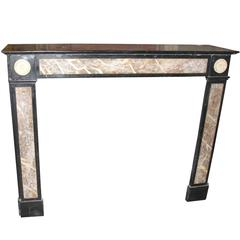 Antique Nero Belgio Marble Fireplace Mantel