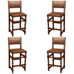 Set of Four 19th Century French Walnut Barstools with Original Leather and Nails