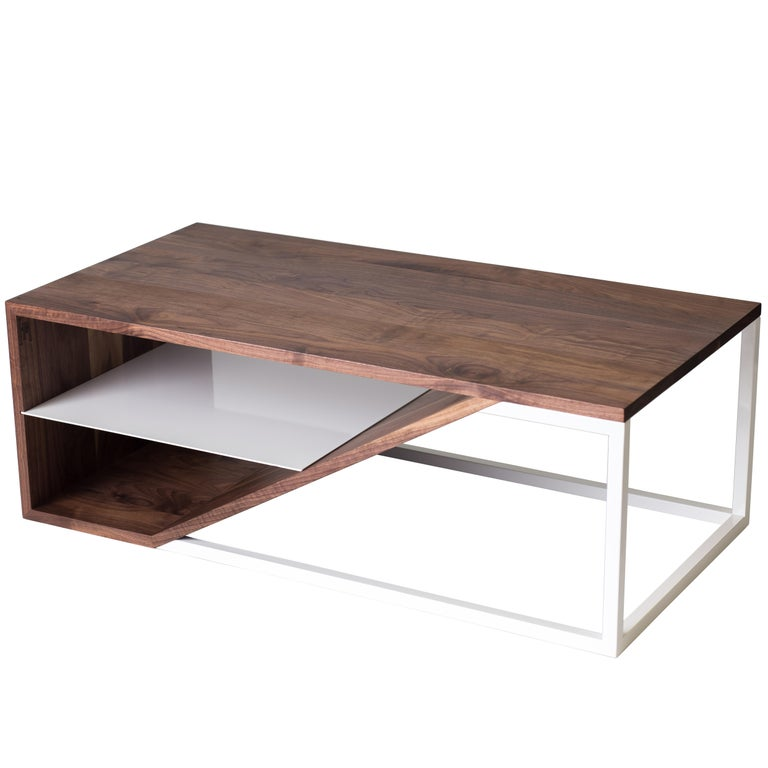 The Cortado, Modern Walnut and Powder Coated Steel Coffee Table For Sale