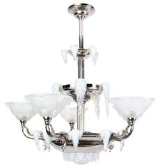 Grand French Art Deco Chandelier by Petitot