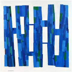 'Blue Structure' Large Abstract Painting by Lars Hegelund, American b. 1947