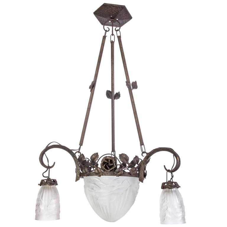 Magnificent Early French Art Deco Chandelier by Charles Schneider For Sale
