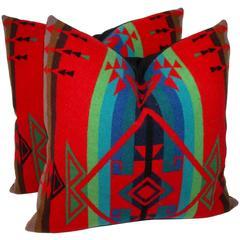Pair of Indian Design Pendleton Camp Blanket Pillows