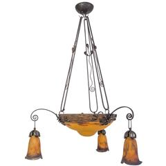 "Elegant 1920s French Art Deco Chandelier Signed ""Muller Fres Luneville"""