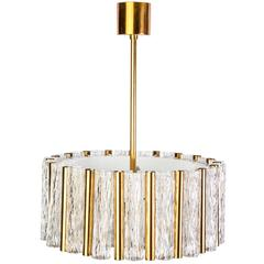 Exceptional Kaiser Leuchten Chandelier Glass & Brass Drum Shape Ceiling Pendant