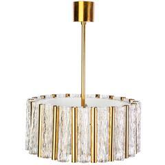 Exceptional Kaiser Leuchten Chandelier Glass & Brass Drum Shape Ceiling Pendant