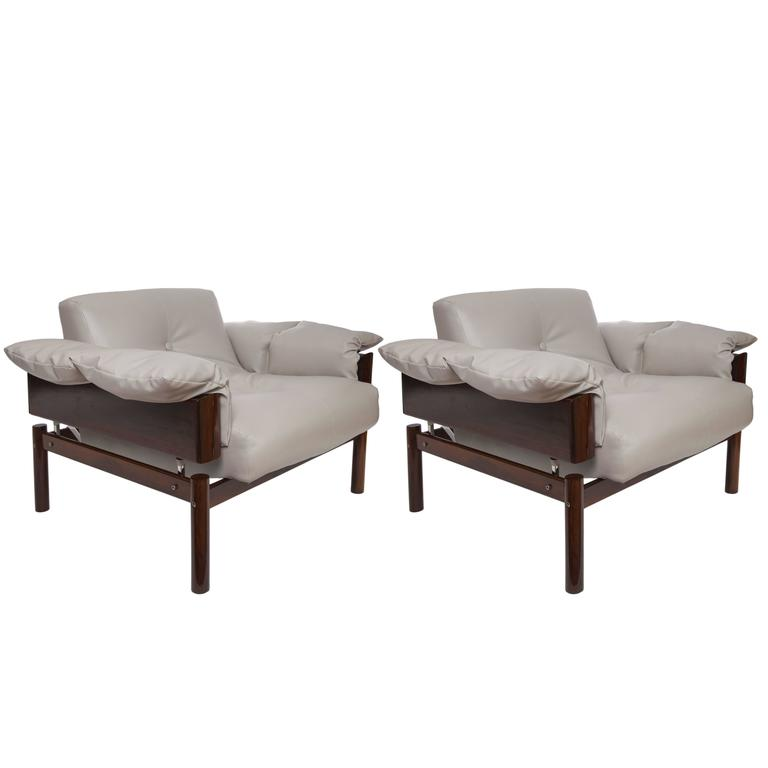 Pair of Percival Lafer Brazilian Jacaranda Lounge Chairs
