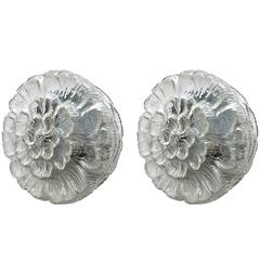 Pair of Rare German Vintage Glass Flower Ceiling or Wall Flush Mounts 1960s