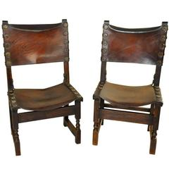 Pair of 17th Century Spanish Leather Chairs