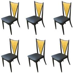 Set of Six Stakmore Mid-Century Modern Cane Back Folding Chairs