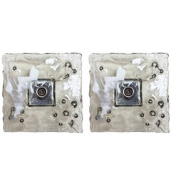 Pair of Italian Smoky Murano Square Glass Sconces / Flush Mounts by Mazzega