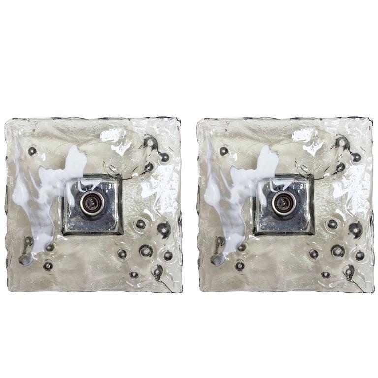 Pair of Italian Smoky Murano Square Glass Sconces / Flush Mounts by Mazzega