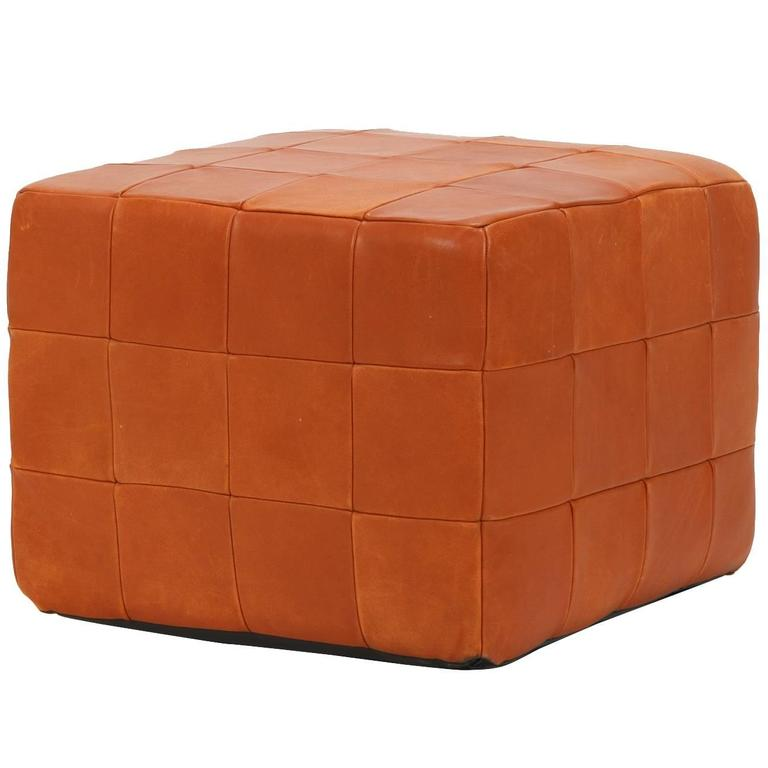 Leather Pouf By De Sede Patchwork Cube In Coral Red 1960s