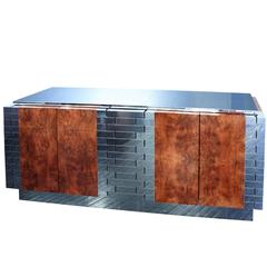 Exceptional Burl Wood and Tessellated Chrome Credenza by Paul Evans