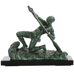 """French Art Deco Patinated Spelter Sculpture of """"The Rower"""" by Alexandre Ouline"""