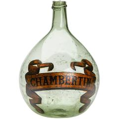 Antique Green Glass Chambertin Bottle, 19th Century