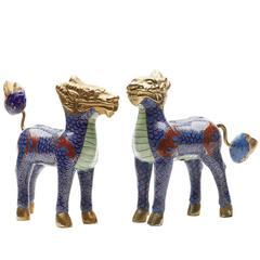 Vintage Pair of Chinese Mythical Cloisonne Dog Figures, circa 1930