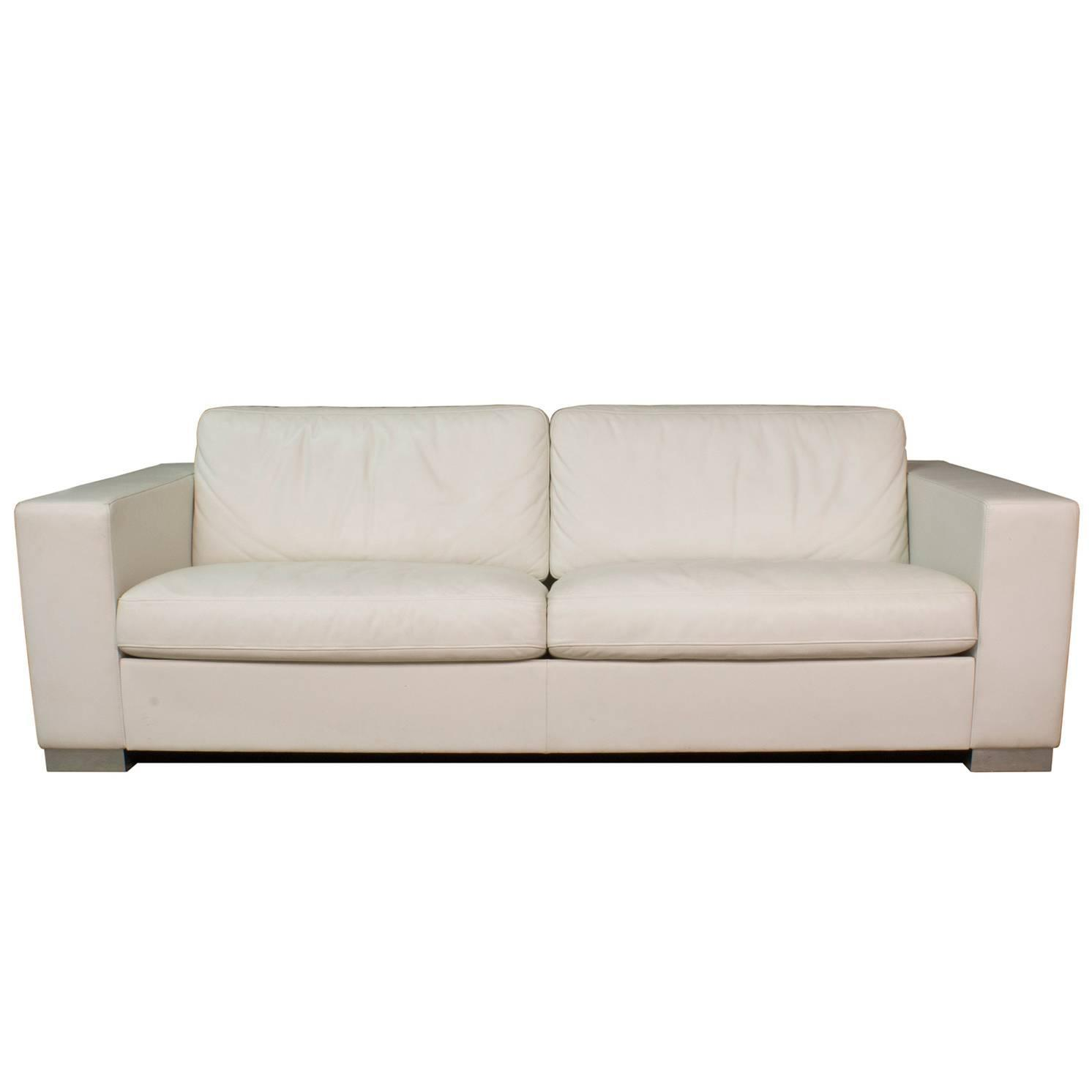 Leather Massimo Two Seat Sofa by Poltrona Frau Italy For Sale at