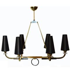Jacques Adnet Six-Light Chandelier, pair available