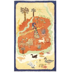 Small Animal Scene Antique Mazlapatan Indian Rug. Size: 3 ft 8 in x 6 ft 3 in