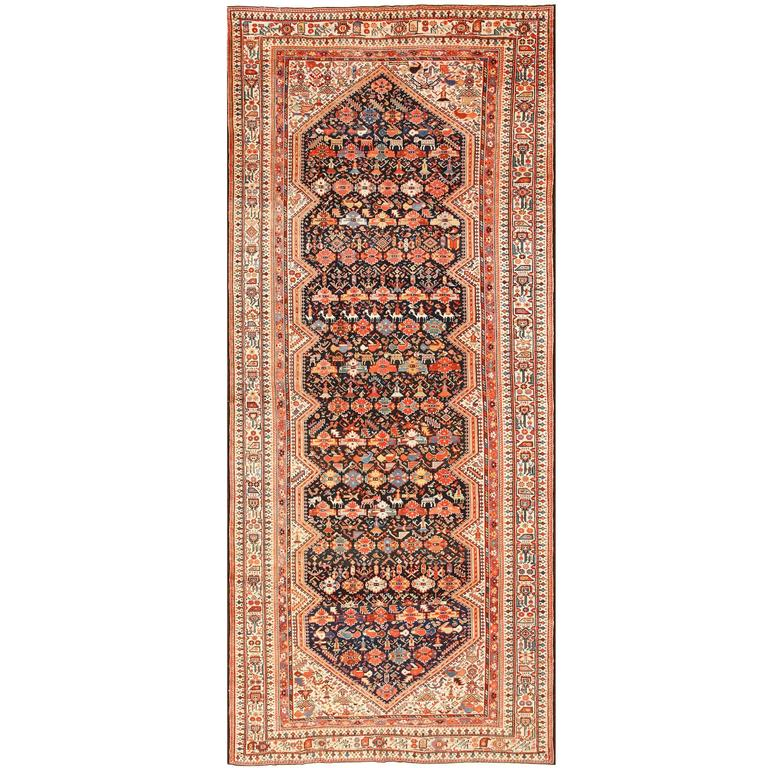 Tribal Antique Qashqai Persian Rug