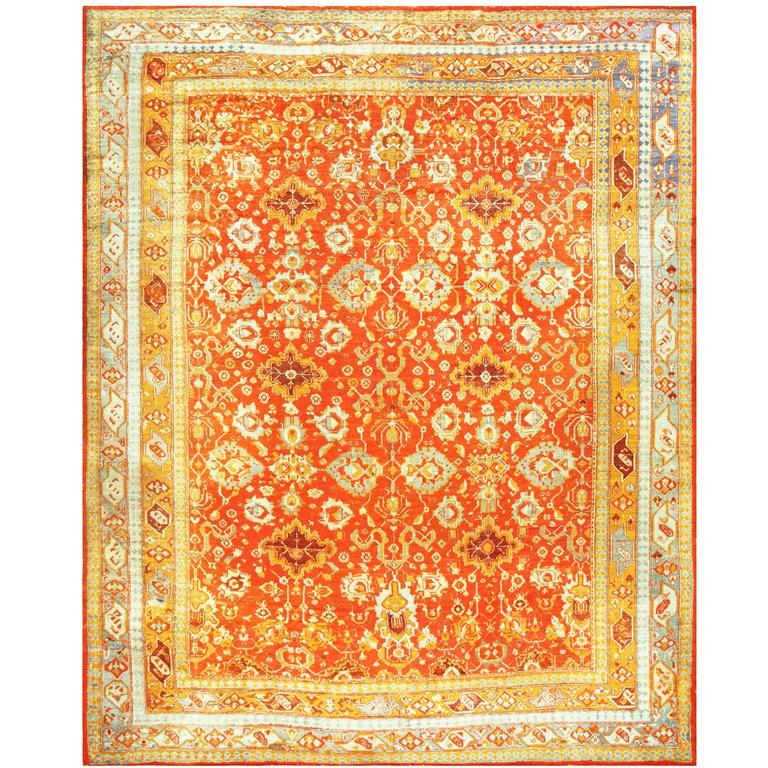 Oushak Rugs For Sale: Coral Antique Angora Oushak Rug For Sale At 1stdibs