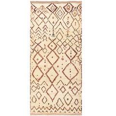 Beige Vintage Beni Ourain Moroccan Rug