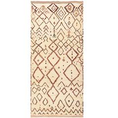 Beige Vintage Beni Ourain Moroccan Rug