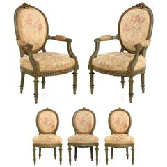 Set of Five French Louis XVI Style Antique Side and Armchairs, 19th Century