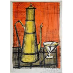 Bernard Buffet Still Life with Pitcher and Glass Lithograph in Colors