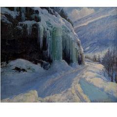 Peder Knudsen, Well Listed Danish Artist, Winter Landscape, Oil Painting