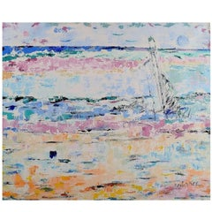 Ray Letellier, French Artist, Sailing Ship at Sea, Oil on Canvas