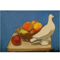 Helge Franzen, Swedish Artist, Still Life with Fruit and White Dove, Oil/ Canvas