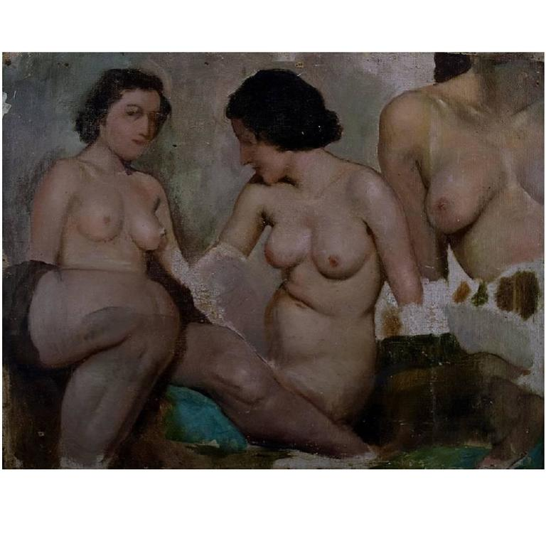 Ivan Thiele, Russian Artist, Academy Study of Naked Women, Oil on Canvas 1