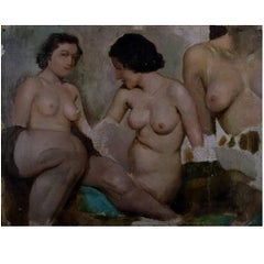 Ivan Thiele, Russian Artist, Academy Study of Naked Women, Oil on Canvas