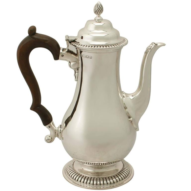 Sterling Silver Coffee Pot by Richard Comyns, George III Style, Antique For Sale