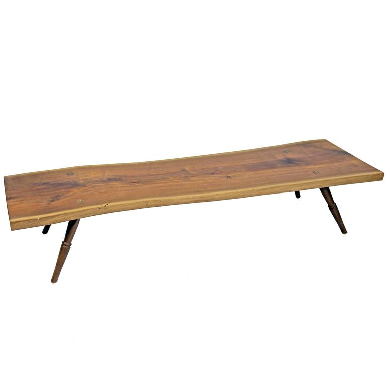 Shimna Handmade Amish Walnut Live Edge Slab Coffee Table with Turned Legs