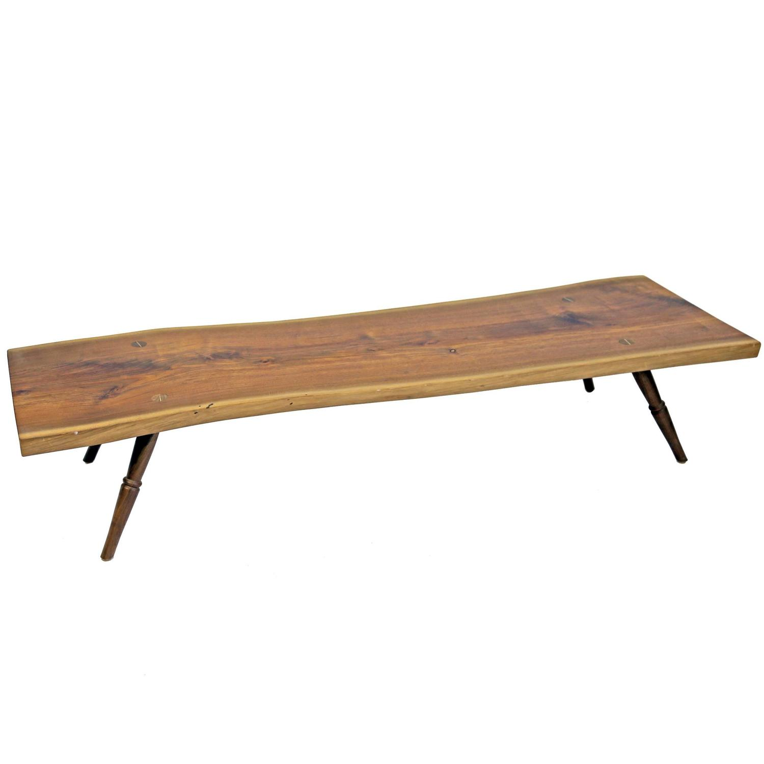 Shimna Handmade Amish Walnut Live Edge Slab Coffee Table With Turned Legs For Sale At 1stdibs