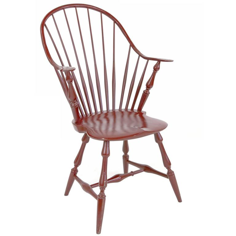 Bon Shimna Windsor Captains Chair, Distressed Red Lacquer Finish