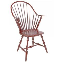 Shimna Windsor Captains Chair, Distressed Red Lacquer Finish