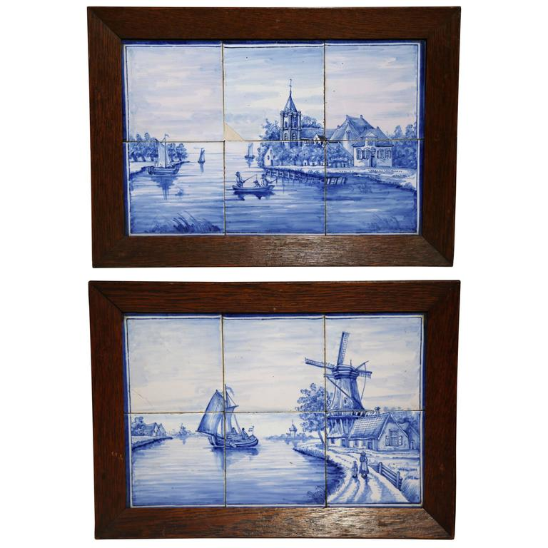 Pair of 19th Century French Blue and White Framed Delft Tiles with Harbor Scenes For Sale