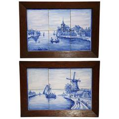 Pair of 19th Century French Blue and White Framed Delft Tiles with Harbor Scenes