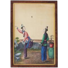 Chinese Watercolor of Two Women with a Shuttlecock, Not a Pith Painting