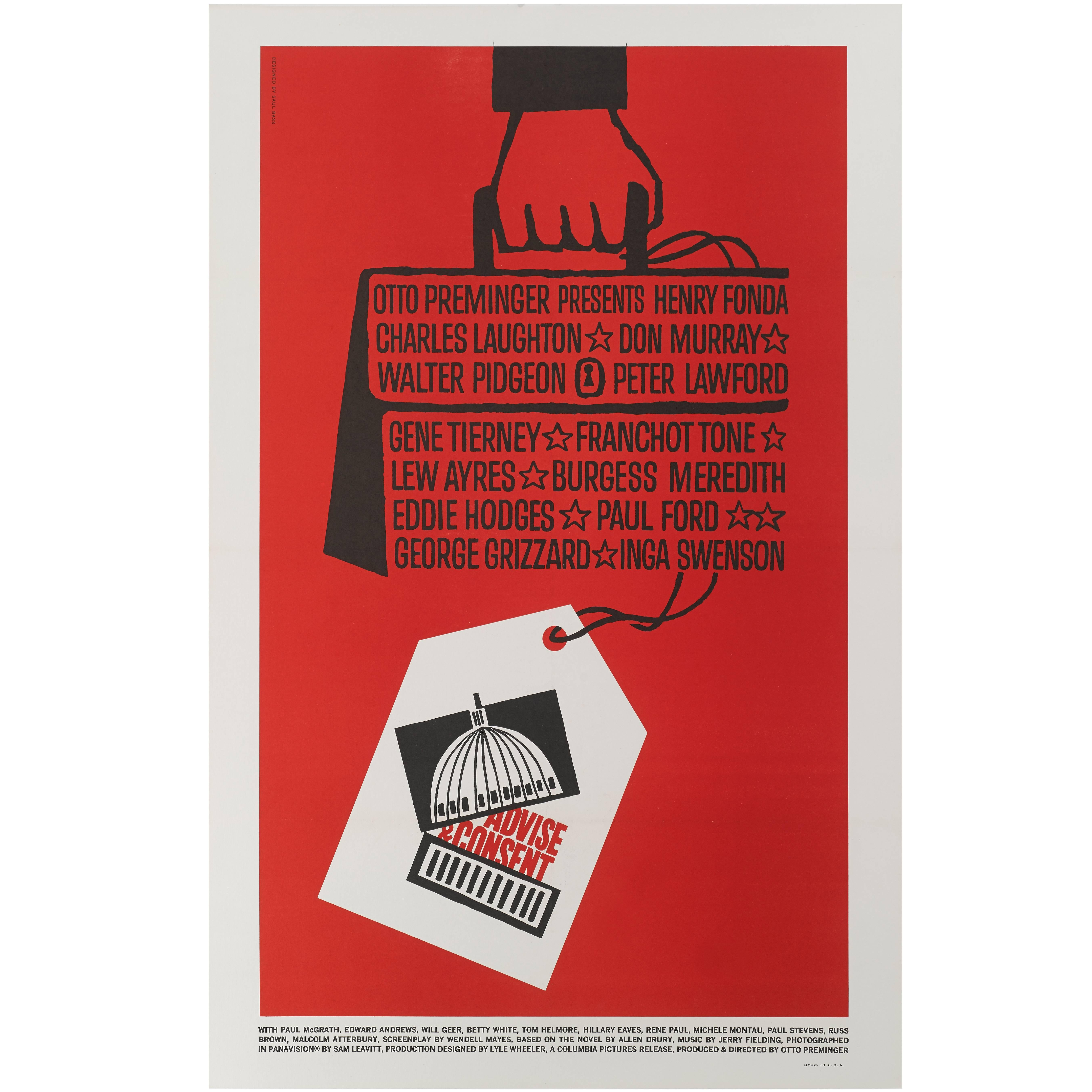"""Advise and Consent"" Original US Movie Poster"