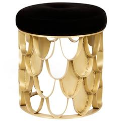 Carpus Stool in Brushed Aged Brass Base and Seat in Velvet Fabric