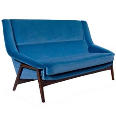Prima Sofa Two Seater in Blue Cotton Velvet and Ebony Wood Veneer